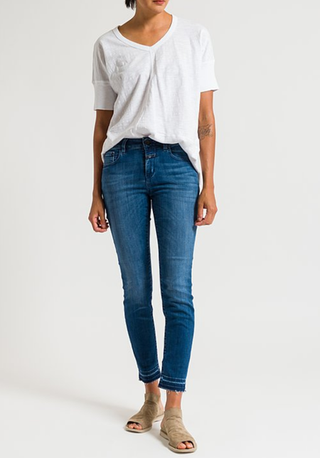 """CLOSED """"Baker"""" Cropped Distressed Hem Jeans - Strong Blue"""
