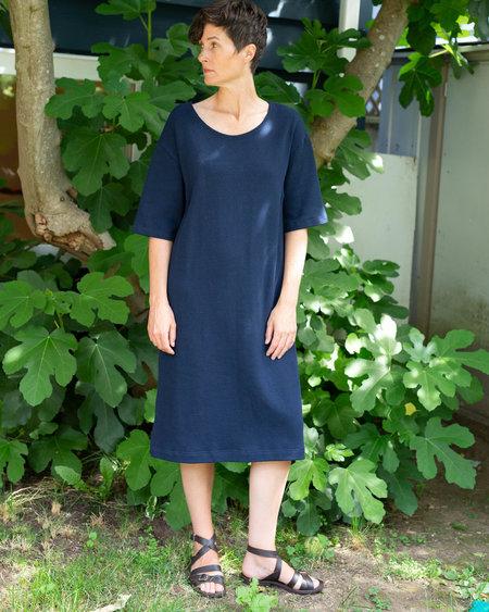 Sunja Link Cotton Knit Dress - NAVY