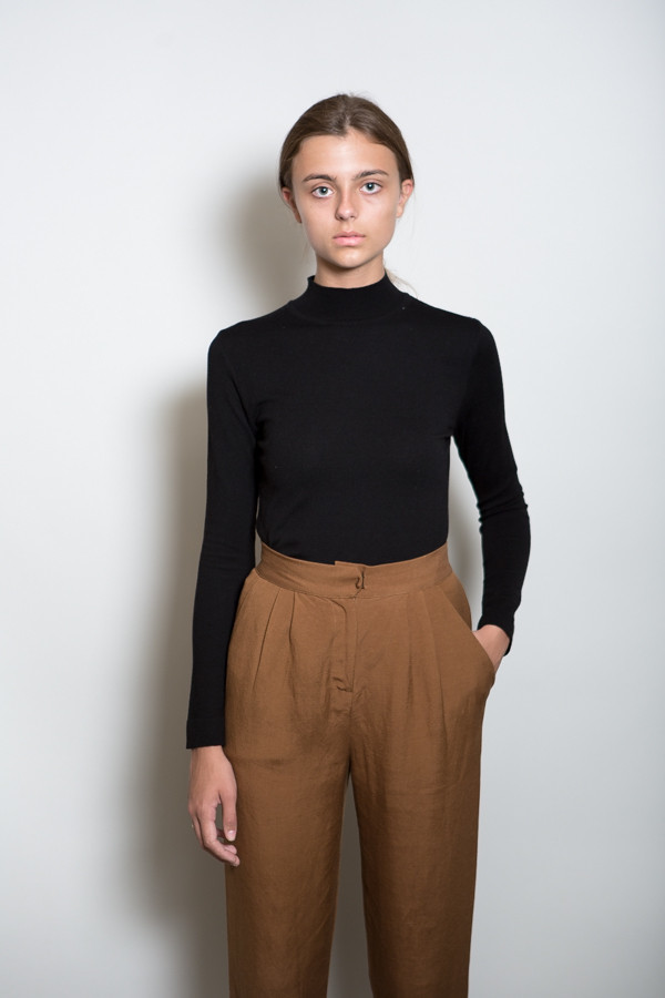 Achro Low Mock Neck Knit Top