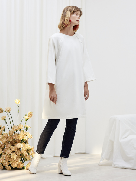 Kowtow Technique Dress in Ecru Denim