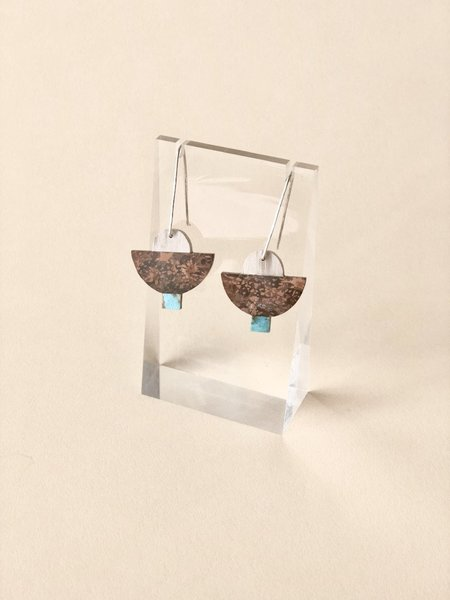 ALISON JEAN COLE Triple Stone Earrings - Wood, Jasper & Turquoise