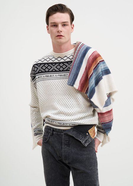 Y/project Norwegian/Mexican Knit Sweater - White