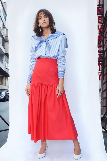 N-DUO midi skirt - Red