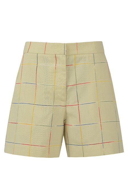 N-DUO shorts - Pastel olive checkered