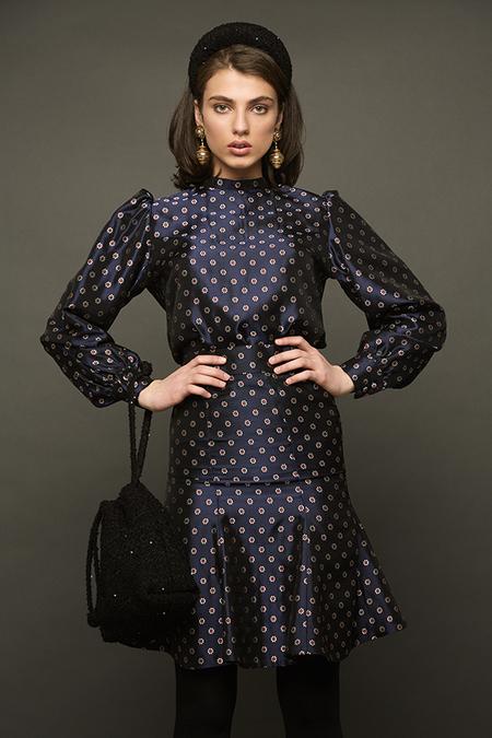 N-DUO printed blouse - Navy