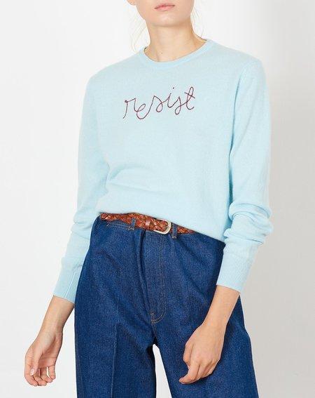 Lingua Franca Resist Embroidered Cashmere Sweater - Seafoam
