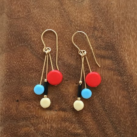I. Ronni Kappos Multi-tablet Cluster Earrings - Blue/Red