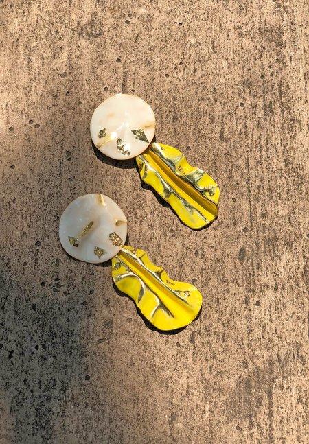 Rachel Comey Fender Earrings - Bone/Chartreuse