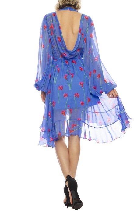 CAROLINE CONSTAS Olivia Floral Print Silk Ruffle Open-Back Dress - Calla Lily