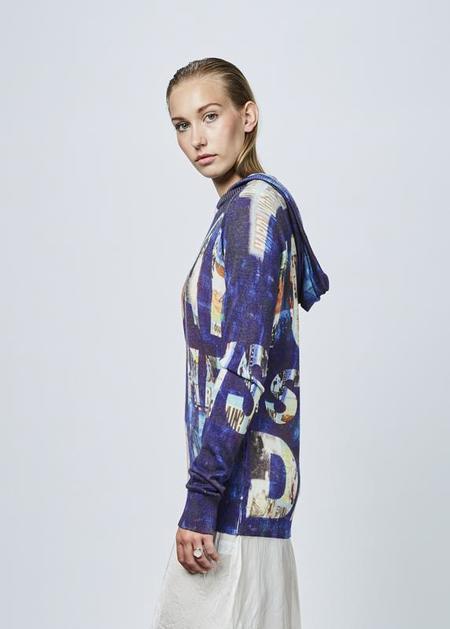 Printed Artworks Printed Cashmere Blend Hoodie - purple/today