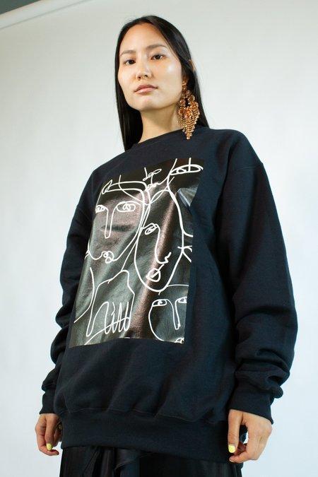 NIKA TANG Black Portrait Sweatshirt