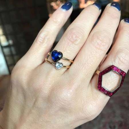Jessica McCormack Button back heart ring - SAPPHIRE