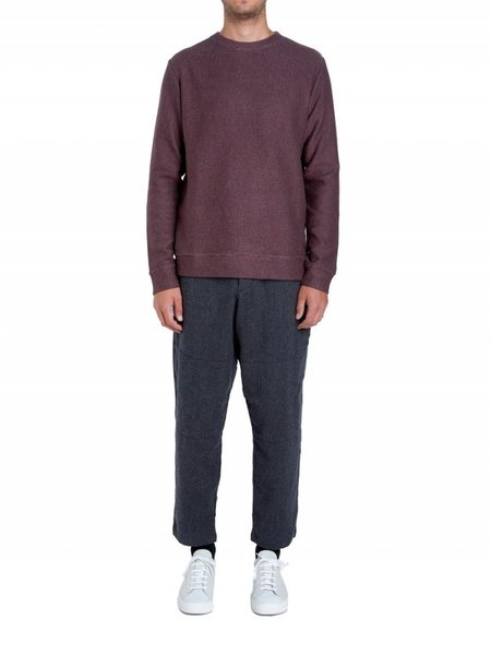 Oliver Spencer Robin Crew Knit - Oakwell Red and Charcoal