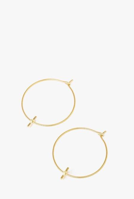 Seoul Little Large Star Hoop Earrings - 14k Gold