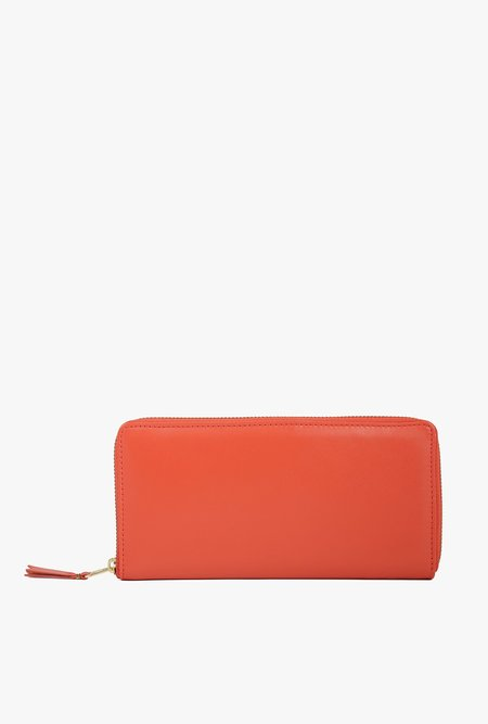 Comme des Garçons Leather Long Full Zip Wallet - ORANGE