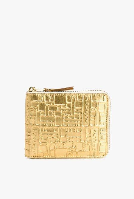 Comme des Garçons Logo Rec Full Zip Wallet - GOLD