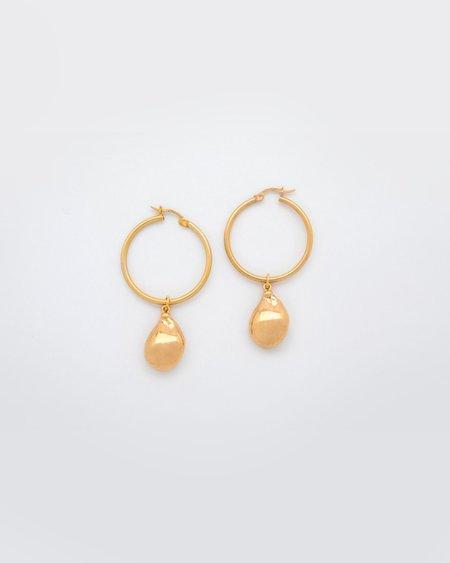 Mirit Weinstock Hoops & Gold Ornament Earrings