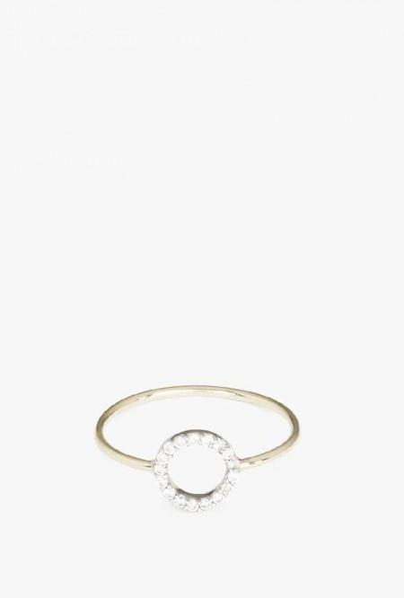 Vale Jewelry Pave Circle Ring - 14k Gold/White Diamond