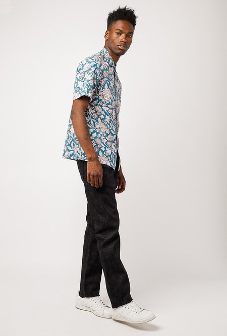 RAGA MAN SS Point Collar Button Down - Turquoise