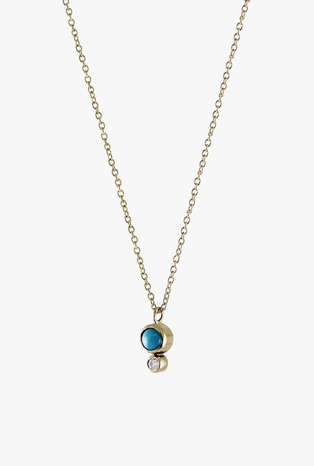 Lumo Turquoise Bezel w/ Diamond Necklace - 14k Yellow Gold