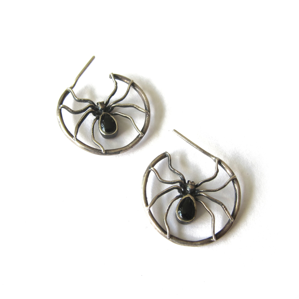 Sterling Spider Earrings