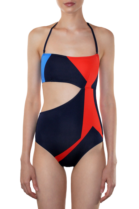 MEI L'ANGE MADELINE BAND MAILLOT - RED MOSAIC