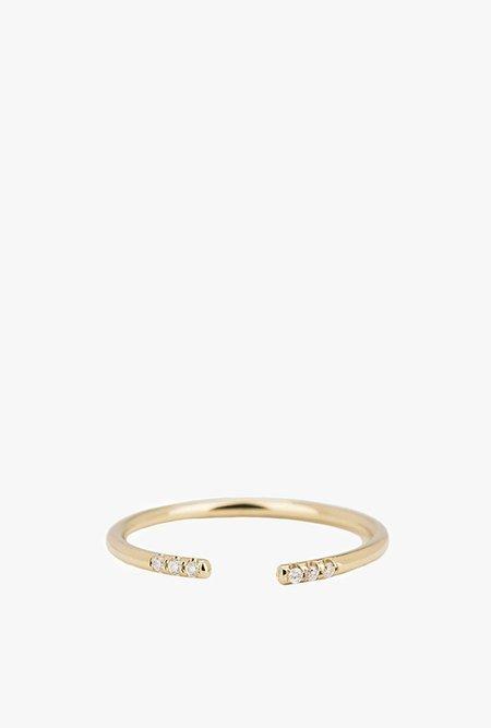 Jennie Kwon White Equilibrium Cuff Ring - 14k Gold / White Diamond