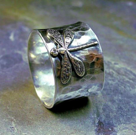 Lavender Cottage Wide Band Dragonfly Ring - Sterling Silver