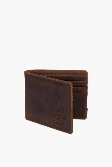 HERSCHEL SUPPLY CO Roy Nubuck Leather Wallet - BROWN
