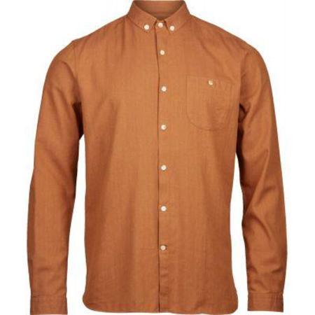 knowledge cotton apparel Melange Effect Flannel Shirt -  Harvest Pumpkin