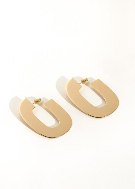 Minoux Jewelry Chain Link Hoops - Gold Plate