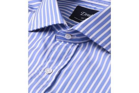 Drake's Regular Fit Cotton Shirt with Spread Collar - Blue/White Bengal Stripe