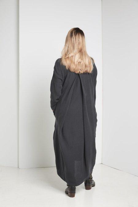 Black Crane Pleated Cocoon Dress - DARK GREEN