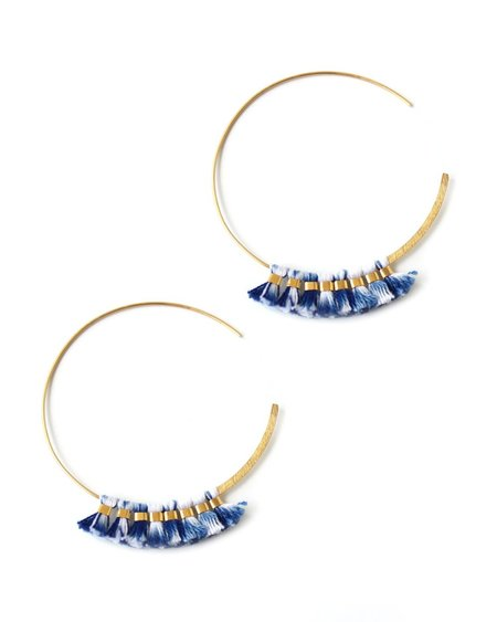 Bluma Project Blue Ikat Hoop Earring