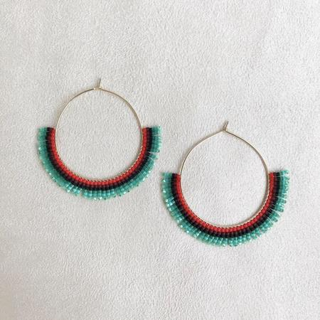 Betty Alida Beaded Hoop Earrings - Green