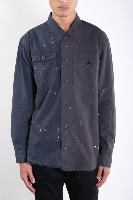 John Elliott Distorted Military Shirt - BLUE