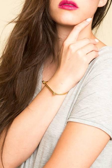 Miansai Thin Screw Cuff - Polished Gold Plated