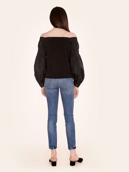 Kinly Poplin Sleeve Blouson Top