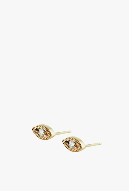 Lumo Diamond Eye Stud Earrings - 14k Gold