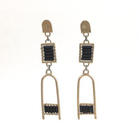 Alchemilla Lattice Drops Earrings - Black