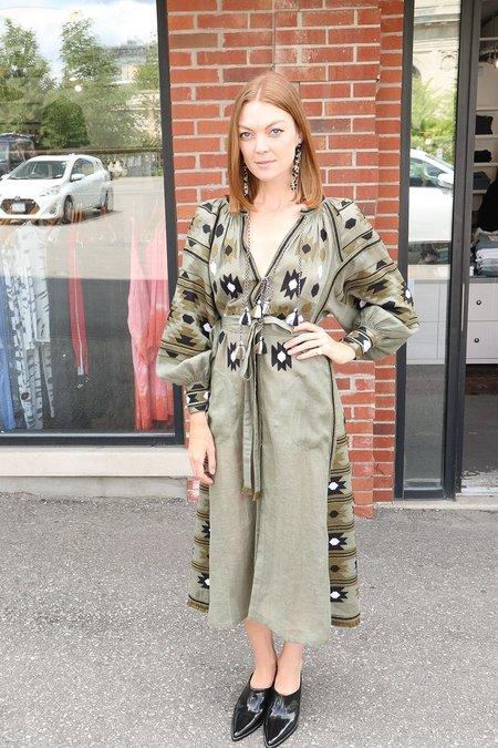 Vita Kin Kilim Embroidered Dress with Embellished Side Panels - Olive