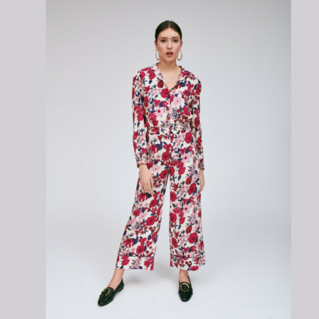 Tara Jarmon Pink Floral Print Pants
