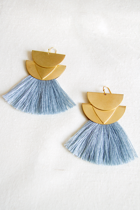Sandy Hyun Diamond Canyon Fringe Earrings - Sky