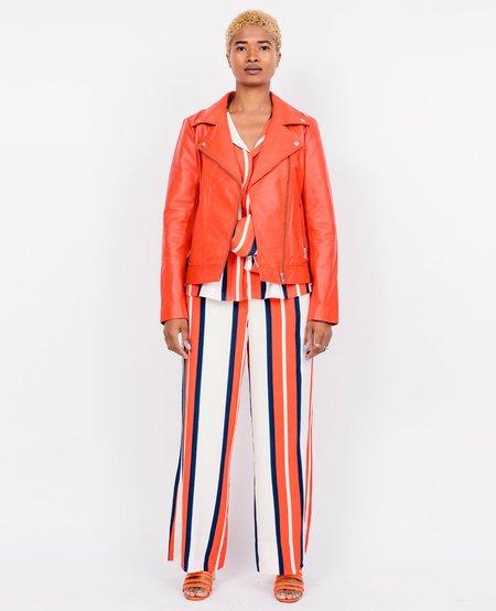 Just Female Martha Leather Jacket - Orange