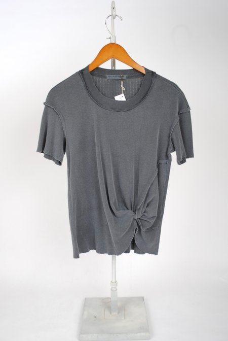 Stateside Pointelle Twist Front Top - Charcoal