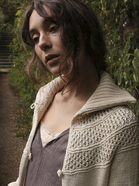 Erica Tanov Signature Big Collar Cardigan - Natural
