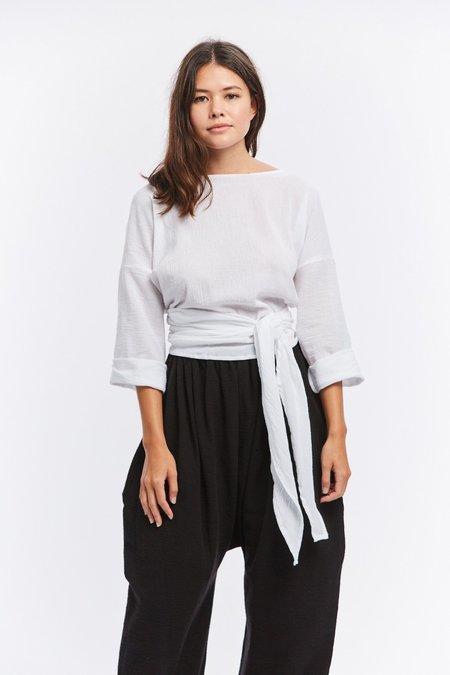 Miranda Bennett Cotton Gauze Wrap Top - White