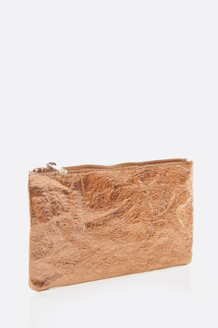 Zilla Large Makeup Metallic Pouch - Dusty Peach