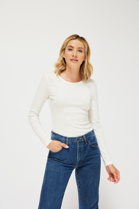 Lacausa Luxe Coffee Tee in Whitewash