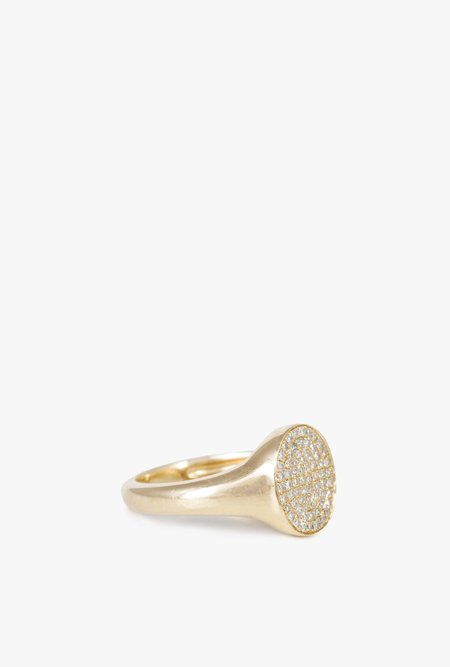 Gabriela Artigas Pave Disc Signet Ring - 14k Gold/White Diamond